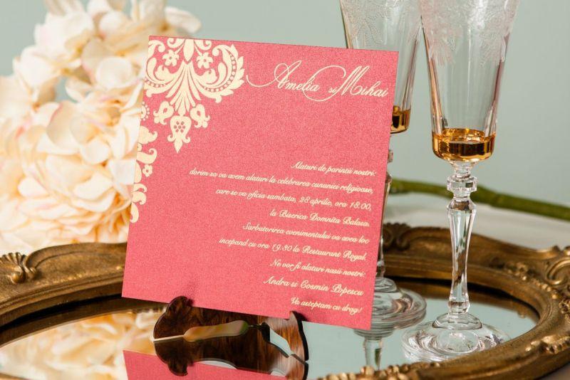 Invitatie nunta eleganta bordeaux cu auriu - poza 3