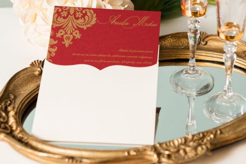 Invitatie nunta eleganta bordeaux cu auriu - poza 2