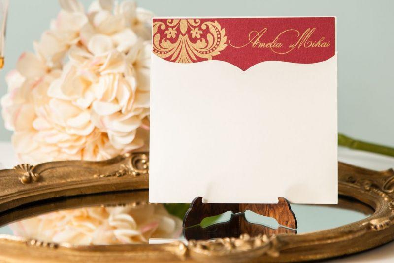 Invitatie nunta eleganta bordeaux cu auriu - poza 1