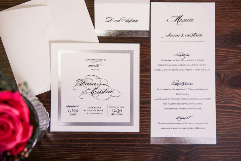 Invitatie nunta eleganta cadran argintiu - poza 3