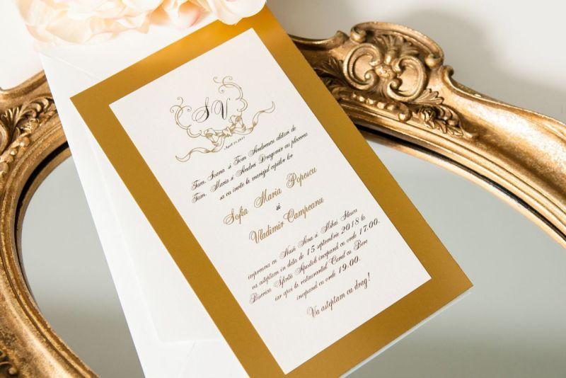 Invitatie nunta eleganta cu auriu - poza 1