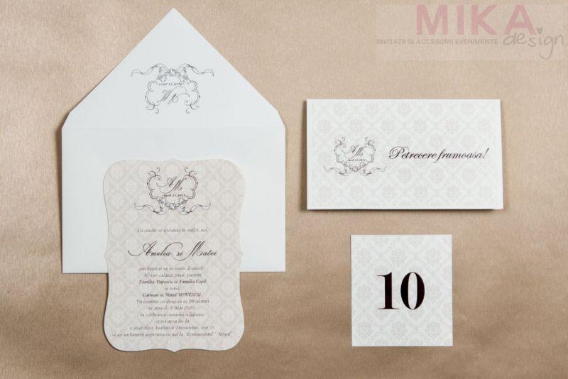 Invitatie nunta eleganta cu fundal damask - poza 1
