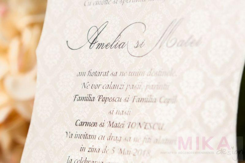 Invitatie nunta eleganta cu fundal damask - poza 2