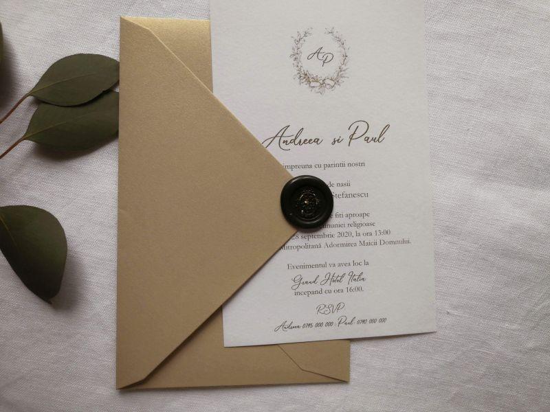 Invitatie nunta eleganta cu plic auriu - poza 5