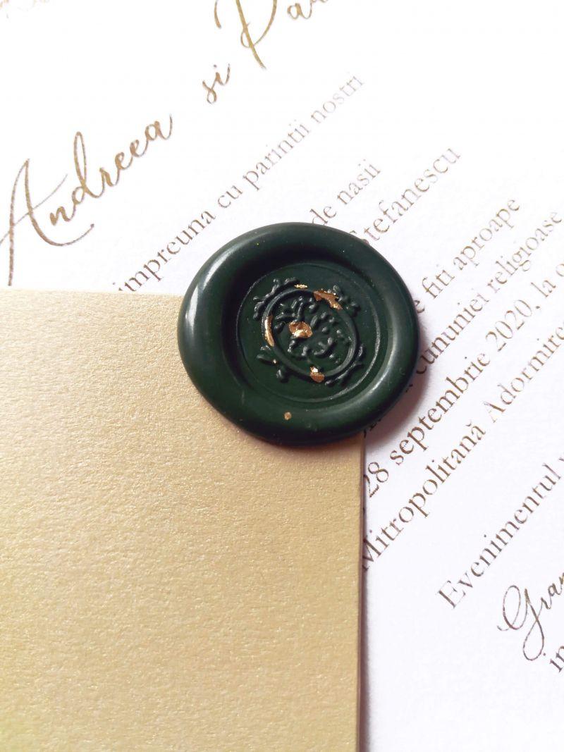 Invitatie nunta eleganta cu plic auriu - poza 3