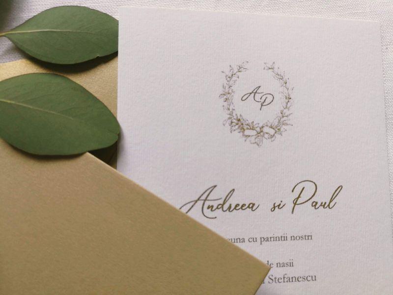 Invitatie nunta eleganta cu plic auriu - poza 4