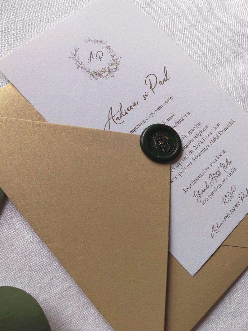 Invitatie nunta eleganta cu plic auriu - poza 2