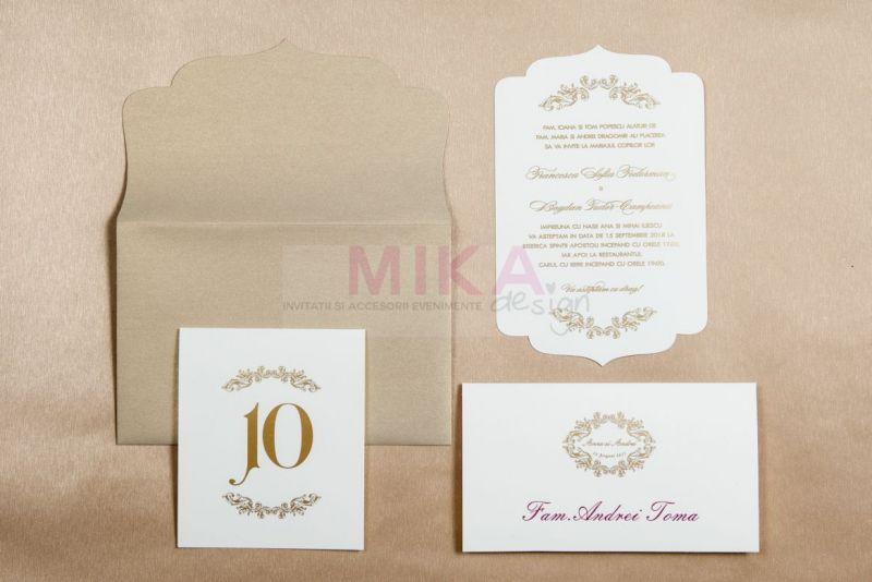 Invitatie nunta eleganta ivoire cu auriu - poza 1