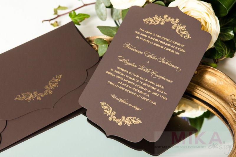 Invitatie nunta eleganta maro cu auriu - poza 2