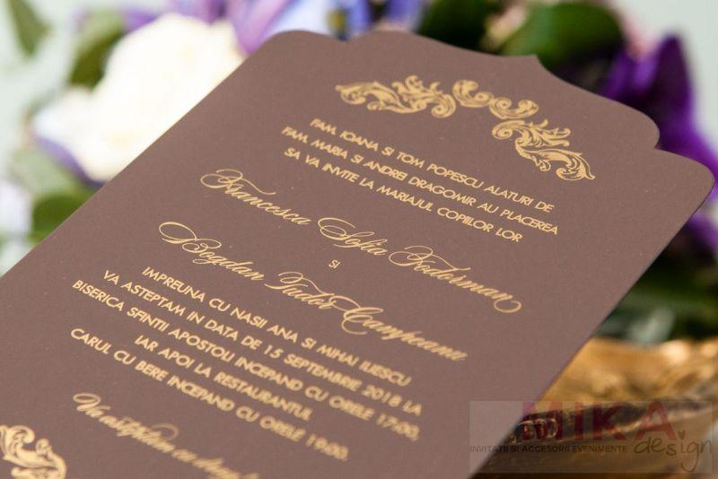 Invitatie nunta eleganta maro cu auriu - poza 3