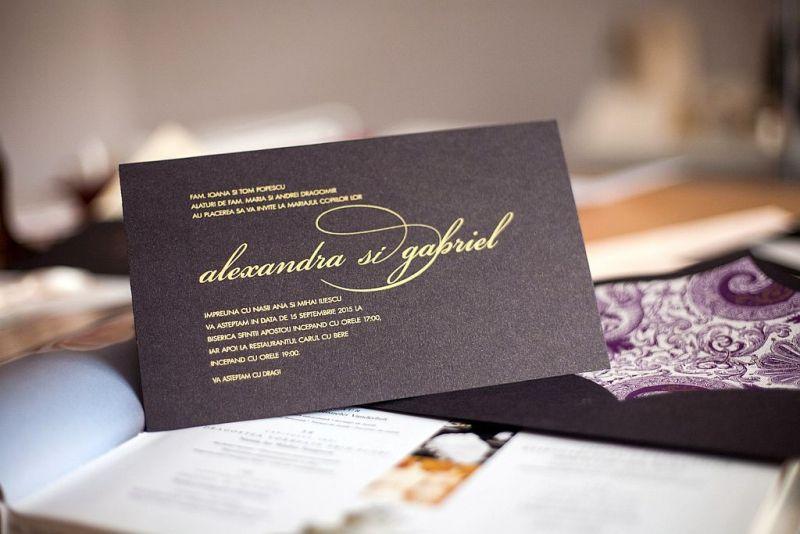 Invitatie nunta eleganta maro - poza 1