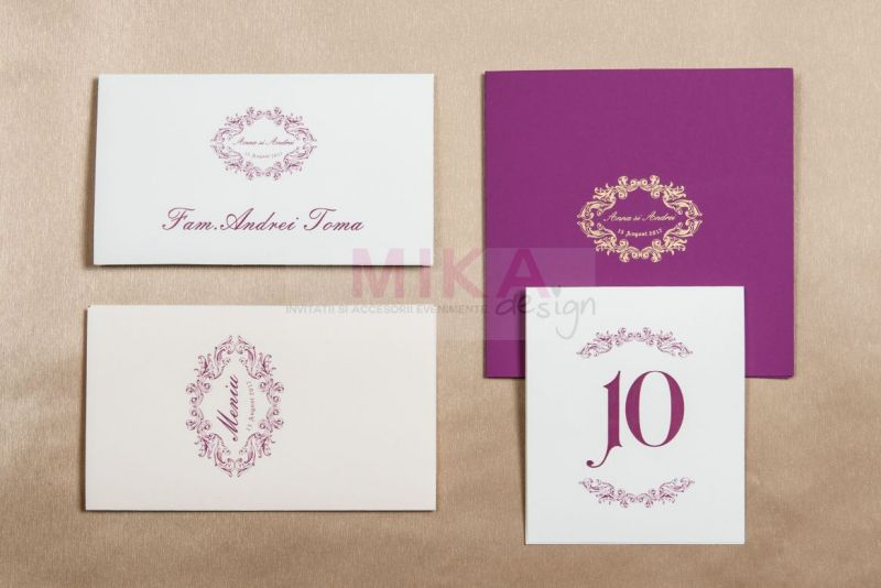 Invitatie nunta eleganta mov cu auriu - poza 2
