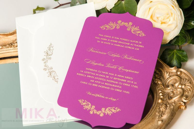 Invitatie nunta mov carton catifelat - poza 2