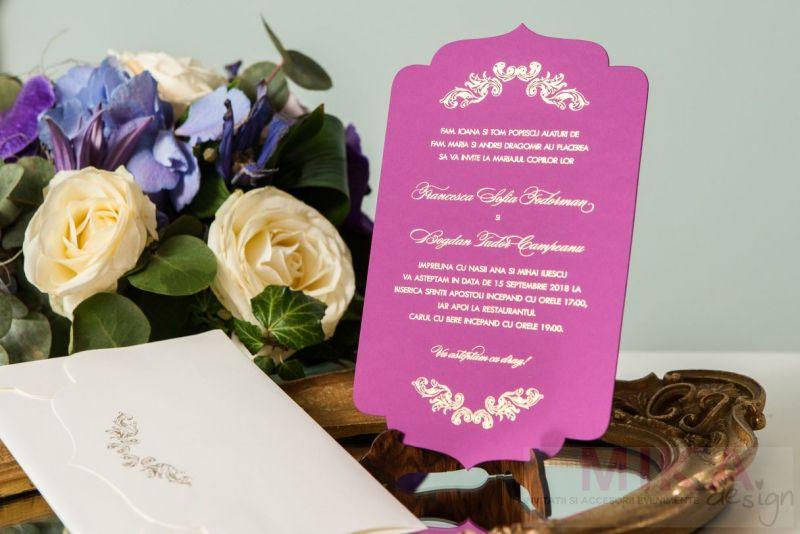Invitatie nunta mov carton catifelat - poza 4