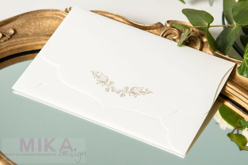 Invitatie nunta mov carton catifelat - poza 3
