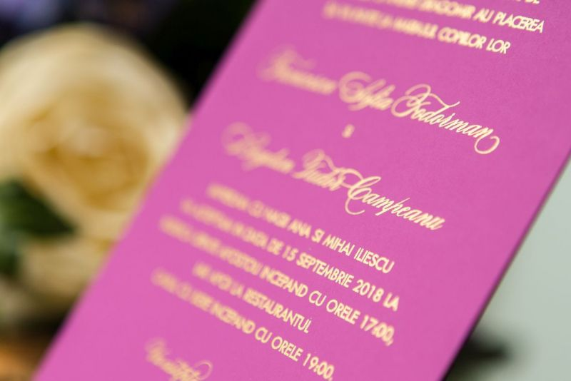 Invitatie nunta mov carton catifelat - poza 5