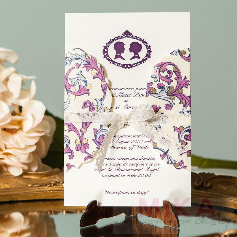 Invitatie nunta mov cu auriu, camee asortata - poza 3