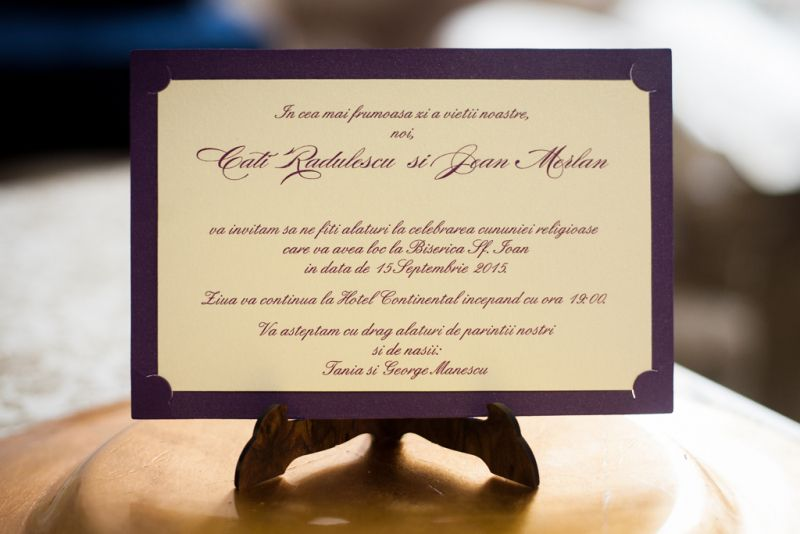 Invitatie nunta mov cu crem - poza 1