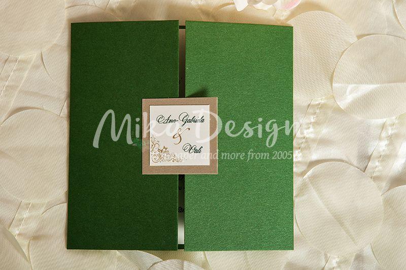 Invitatie nunta verde cu fluturi - poza 1