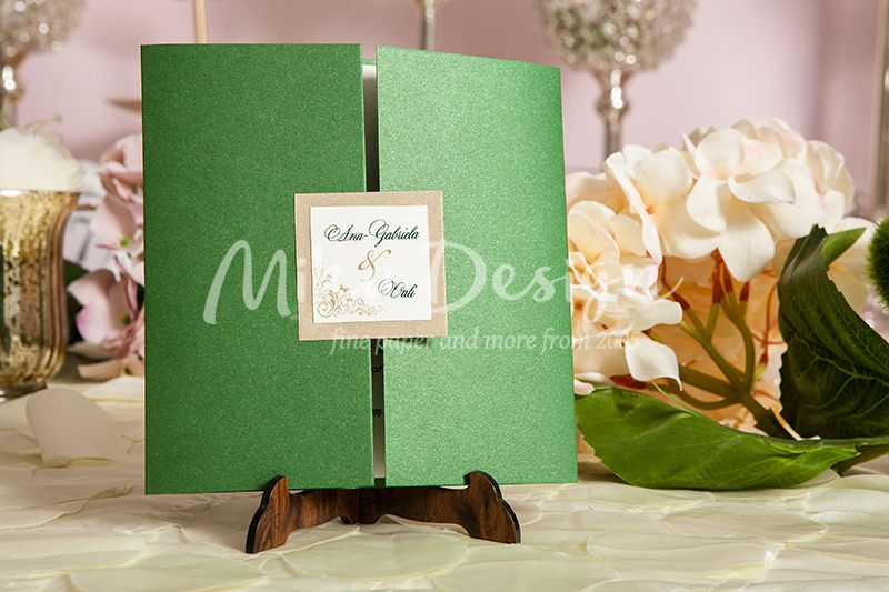 Invitatie nunta verde cu fluturi - poza 2