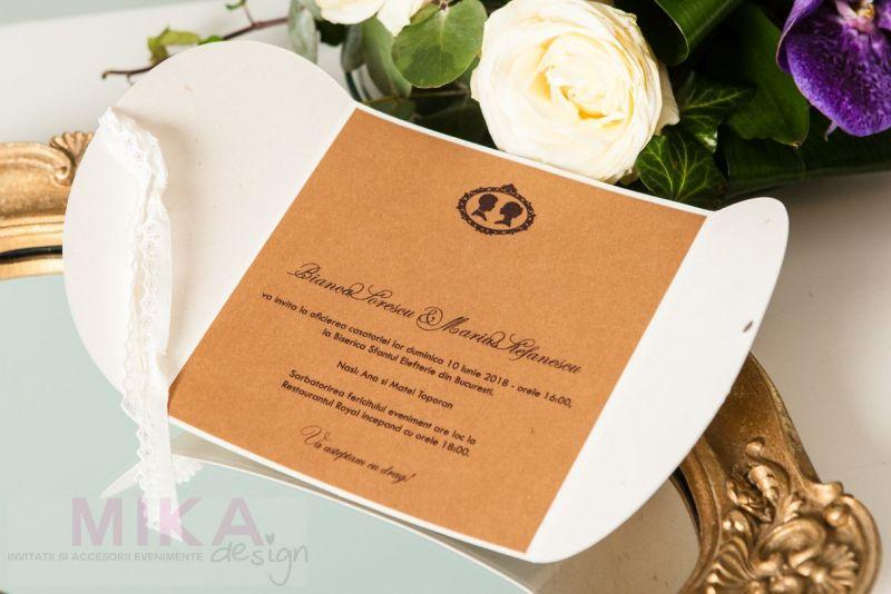 Invitatie nunta vintage cu danteluta ivoire - poza 3