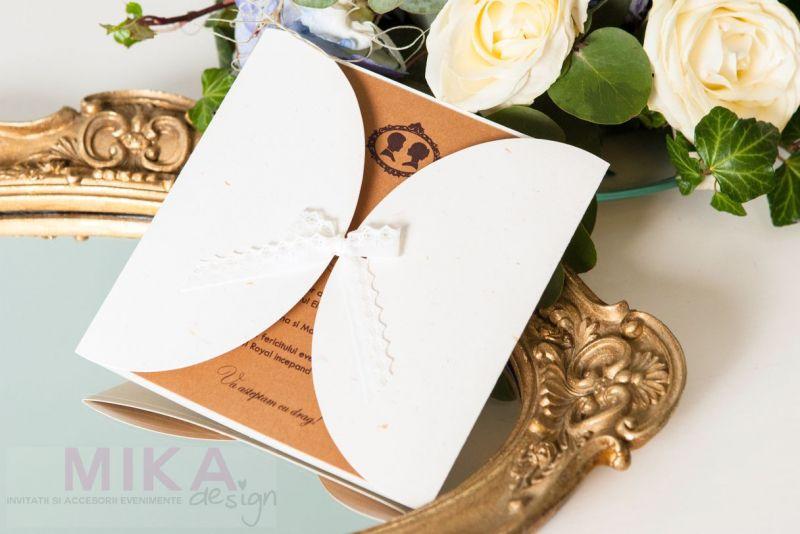 Invitatie nunta vintage cu danteluta ivoire - poza 2