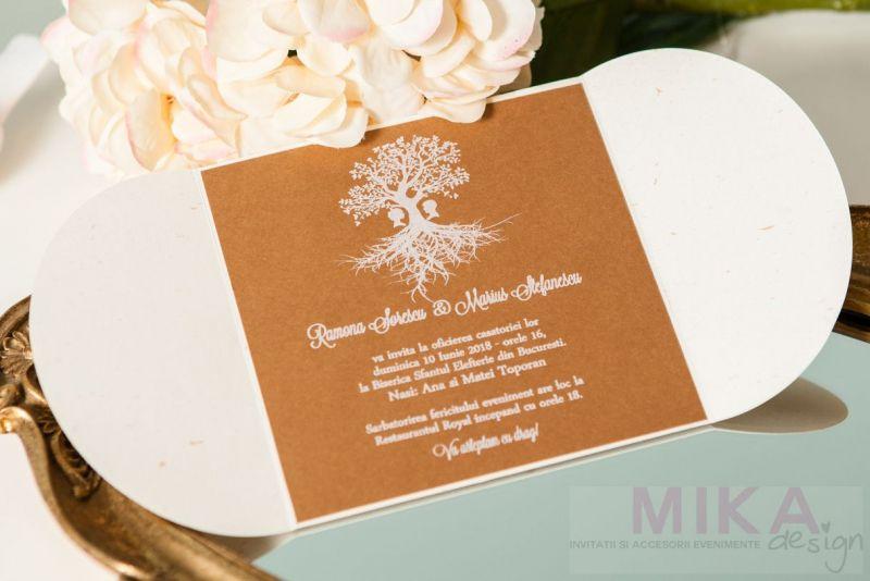 Invitatie nunta vintage cu pomisor alb - poza 2