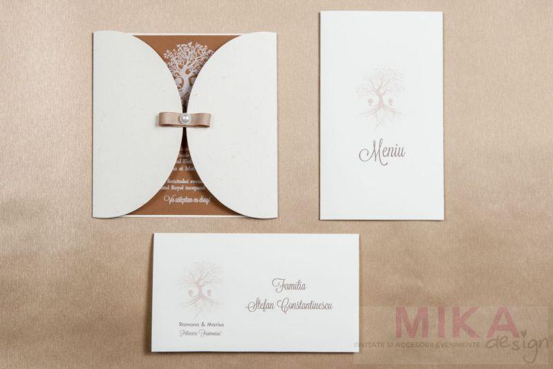 Invitatie nunta vintage cu pomisor alb - poza 4