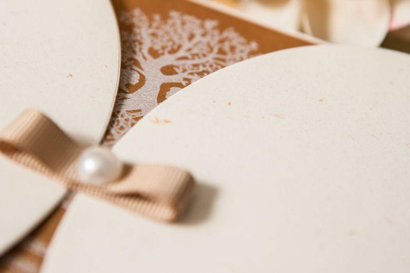 Invitatie nunta vintage cu pomisor alb - poza 6