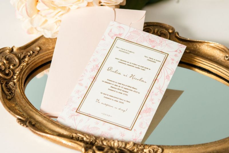 Invitatie nunta vintage cu trandafiri - poza 1