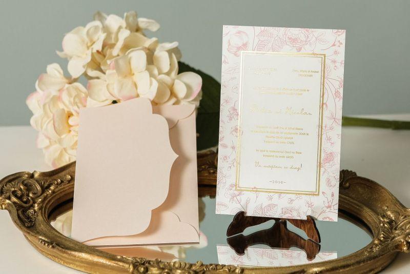 Invitatie nunta vintage cu trandafiri - poza 3