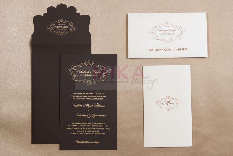 invitatii nunt eleganta maro cu design auriu