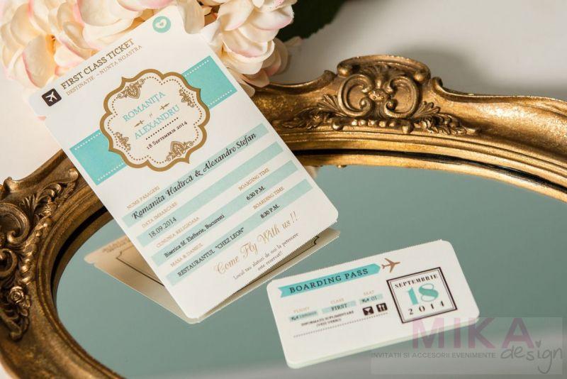 Invitatii nunta bilet de avion first class - poza 4