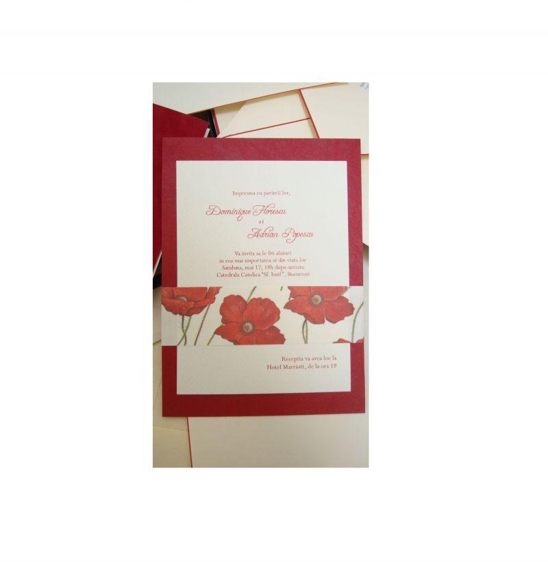 Invitatii nunta cu maci, tematica rustica - poza 2