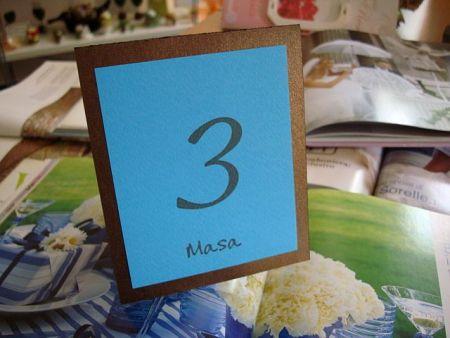 Numar masa nunta dublu, maro si turcoise - poza 1