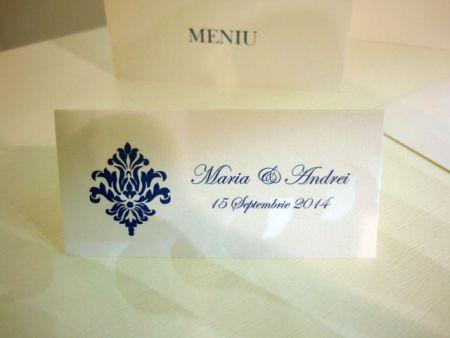 Card cu numele invitatilor, design pentru nunti elegante