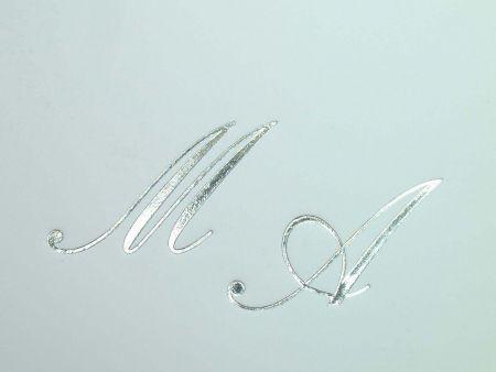 Personalizare invitatii nunta sau plicuri cu initiale in folio argintiu - poza 1