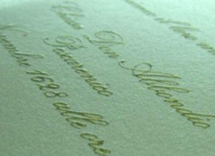 Personalizare invitatii nunta termorelief auriu - poza 1