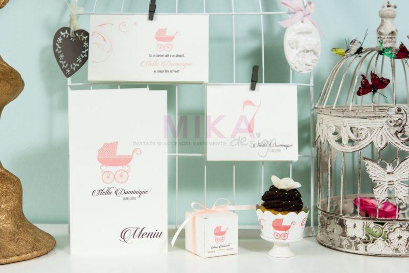 Plic bani botez fetita cu carucior roz - poza 2