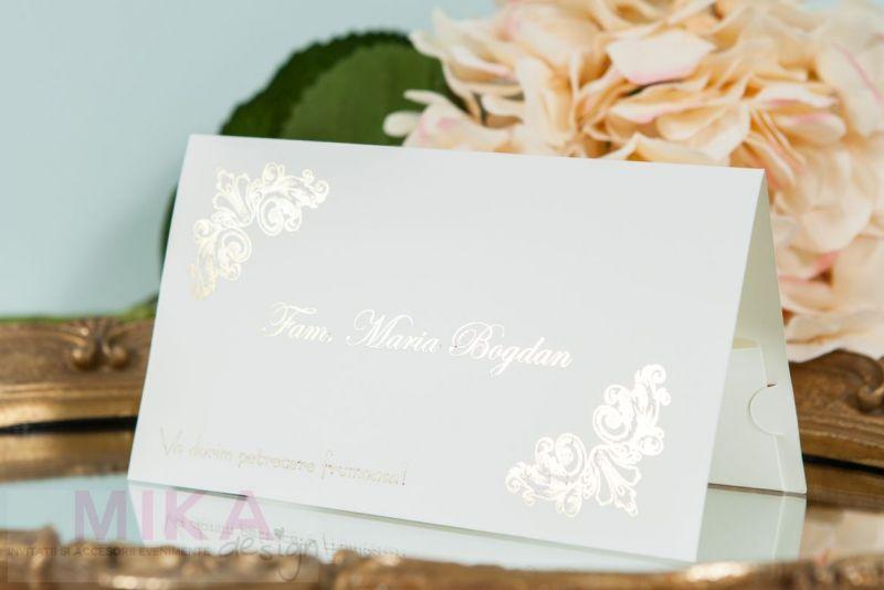 Plic bani nunta ivoire cu design auriu - poza 1