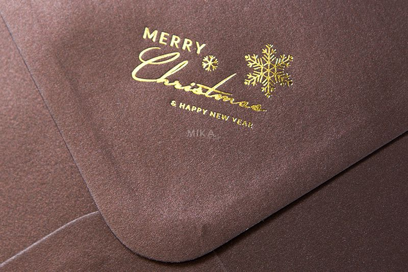 Plic patrat maro sidefat personalizat pentru Craciun - poza 1