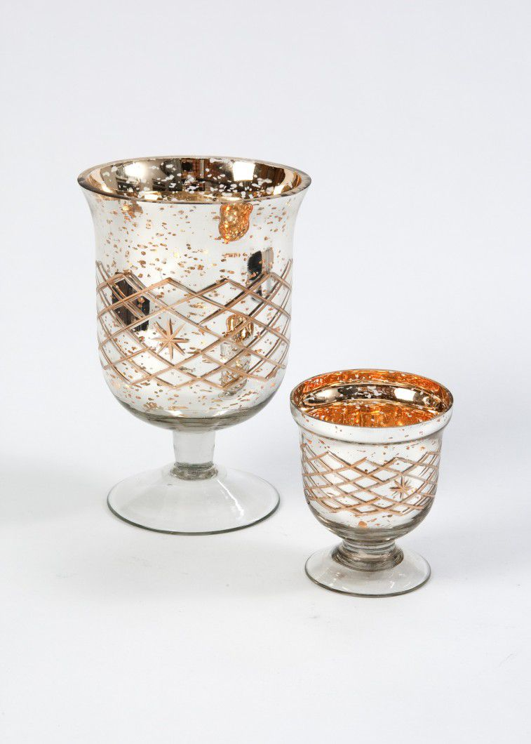 Suport flori sau lumanari auriu cu argintiu - poza 3