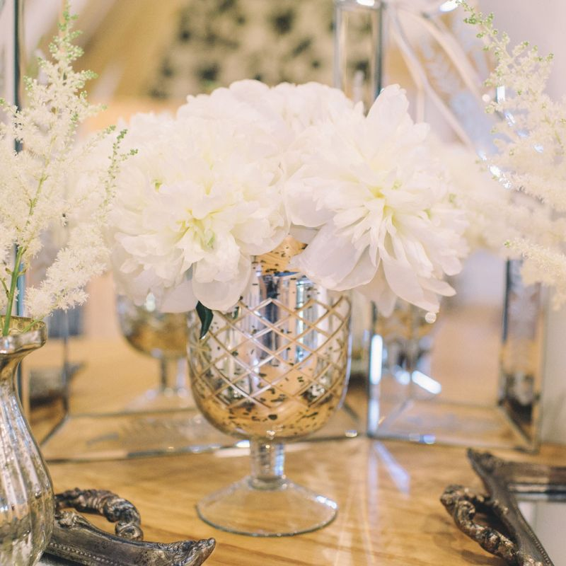 suport flori sau lumanari auriu cu argintiu