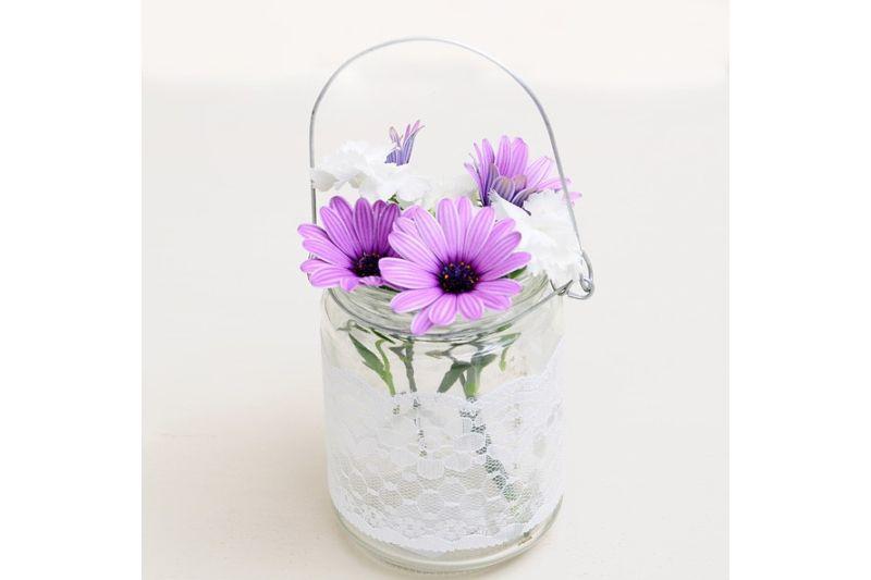 suport lumanare sau flori cu dantela