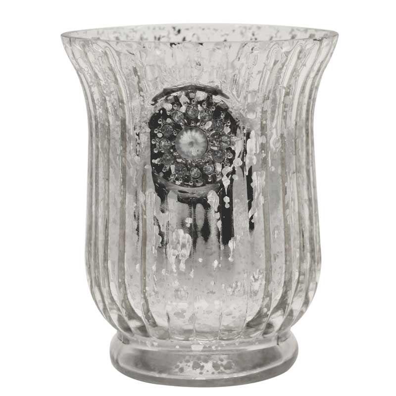 suport lumanare sau flori mercury argintiu